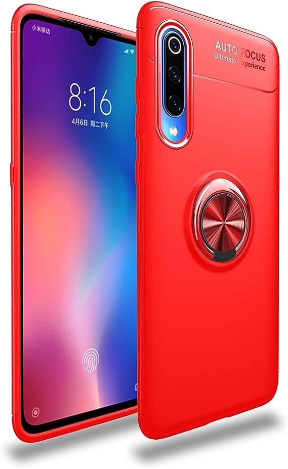Image of Funda Compatible con Xiaomi Mi 9/Mi 9 SE Teléfono Móvil Transparente Silicona Bumper Case Caja con Anillo Giratorio de 360 Grados Rotaria Ring