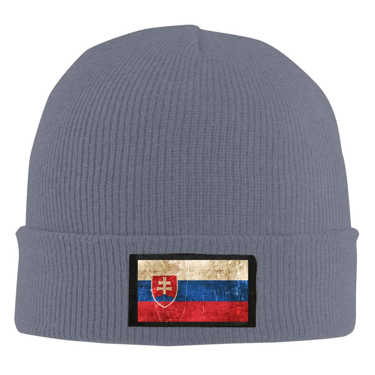 Vintage Aged and Scratched Slovakian Flag Unisex Warm Winter Hat Knit Beanie Skull Cap Cuff Beanie Hat Winter Hats