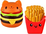 Biging 2 Pieces Kawaii Cat Hamburger Bread Squishy and Fries Squishy Slow Rising Toys