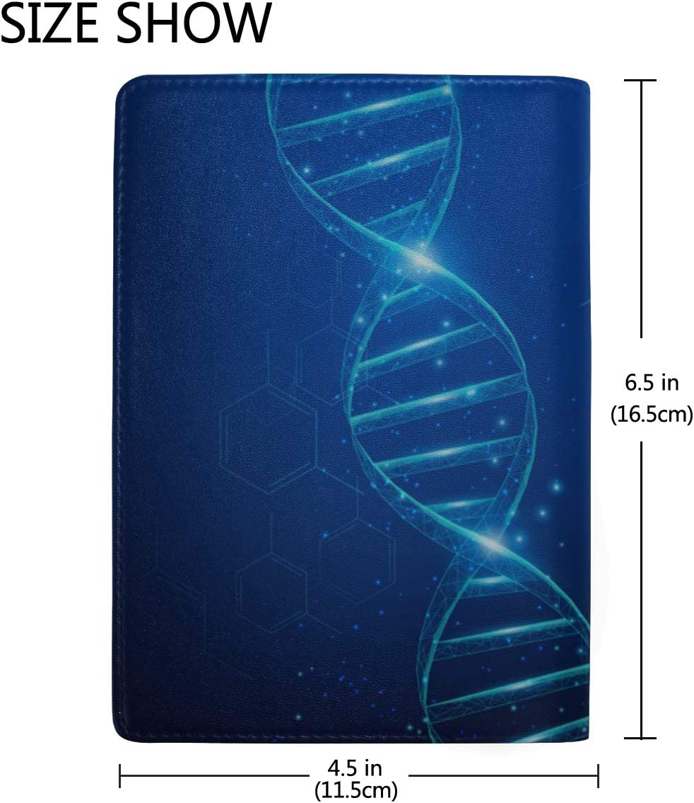 Dna Abstract Molecular Map Blocking Print Passport Holder Cover Case Travel Luggage Passport Wallet Card Holder Made With Leather For Men Women Kids Family