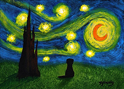 (Black Lab Labrador Retriever Dog Art Print by Todd Young UNDER A STARRY)