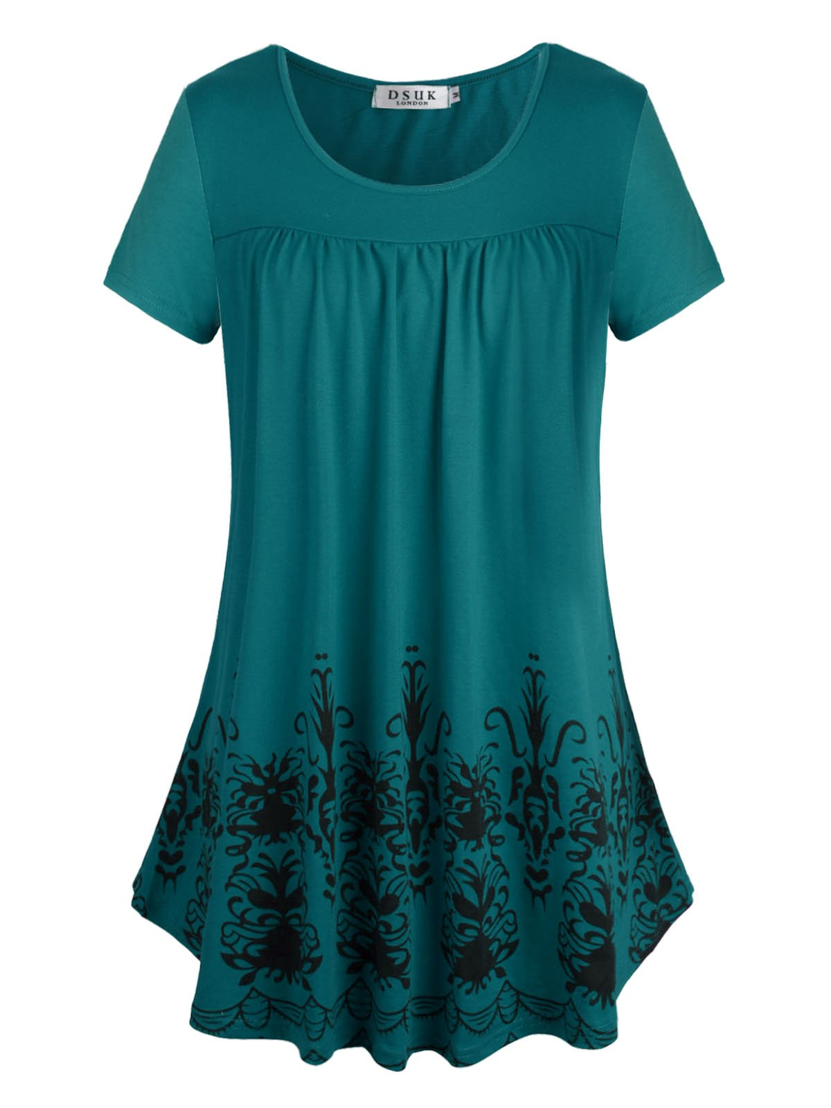 DSUK Soft Tunic Tops Women, Ladies O Neck Long Style Fashionable Simple Relax Elegance Comfortable Soft-Touch Charming Gentle Front Ruffle Leisurewear Snug Clothes Tunics for Party Lake Blue Large
