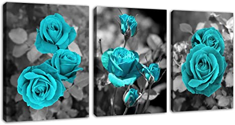 Roses Flowers Floral Love CANVAS WALL ART Panoramic Framed Print