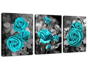 "Canvas Wall Art Teal Roses Picture Blue Blossom Rose Canvas Artwork Prints Contemporary Wall Art for Living Room Bedroom Bathroom Kitchen Office Wall Decor Framed Ready to Hang 12"" x 16"" x 3 Pieces"