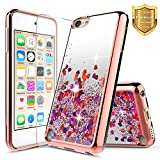 NageBee iPod Touch 6 Case, iPod 6/5 Case w/[Tempered Glass Screen Protector], Quicksand Liquid Floating Glitter Flowing Shiny Bling Clear Case For Apple iPod Touch 5/6th Generation -Rose Gold