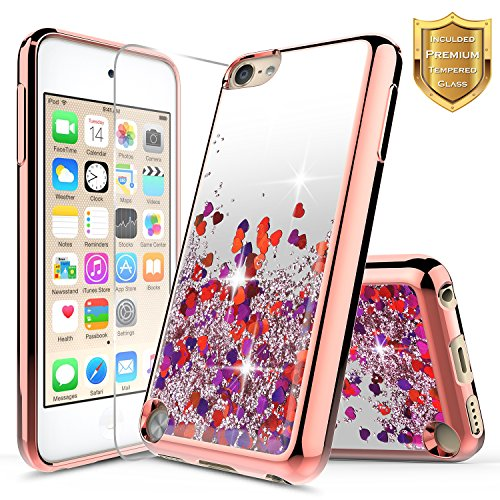 iPod Touch 5th / 6th Liquid Case with [Tempered Glass Screen Protector], NageBee Quicksand Floating Shiny Glitter Flowing Bling Clear Case For Apple iPod Touch 6th / 5th Generation -Rose Gold (Ipod 5th Generation Selfie Cases)