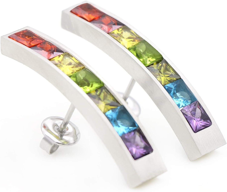 Energetix 4you 9005 - Pendientes magnéticos de piedras preciosas, diseño de arcoíris brasileño, color plateado