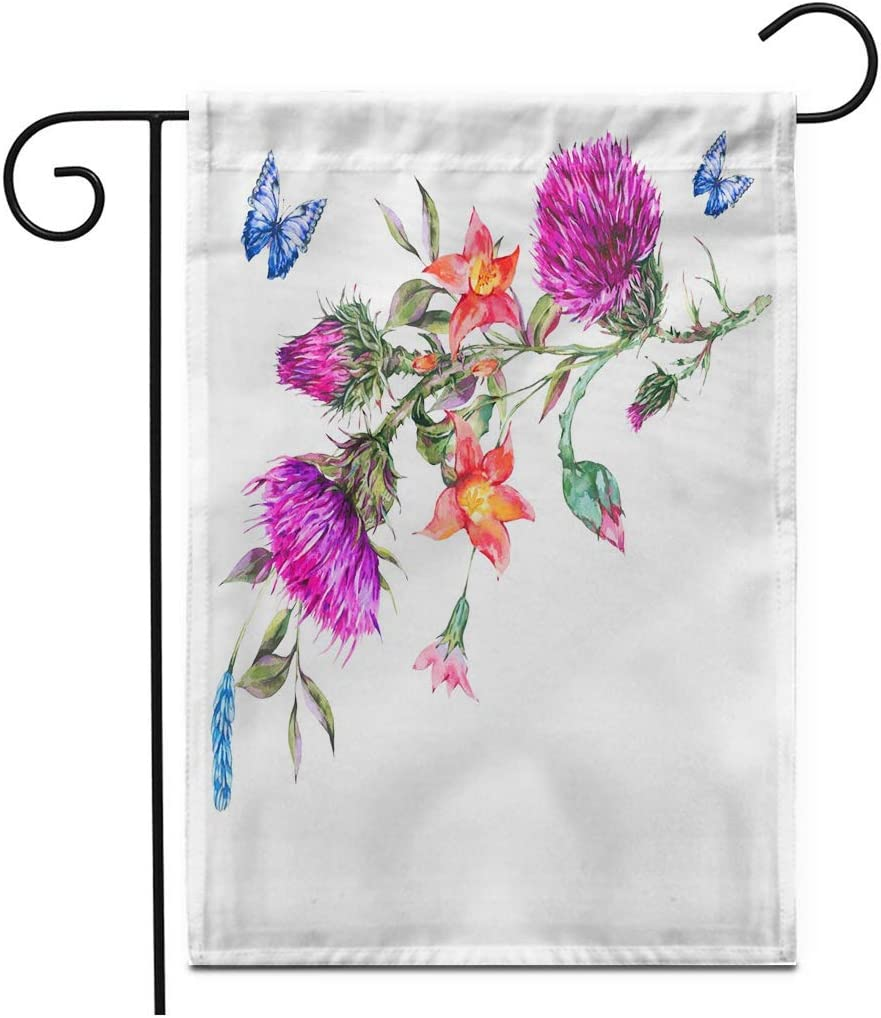 JUCHen Watercolor Thistle Poppy Blue Butterflies Wild Flowers Meadow Herbs Vintage Botanical Garden Sign Home House Yard Flag Double-Sided 12.5 X 18 Inch Thick Yard Outdoor Decoration