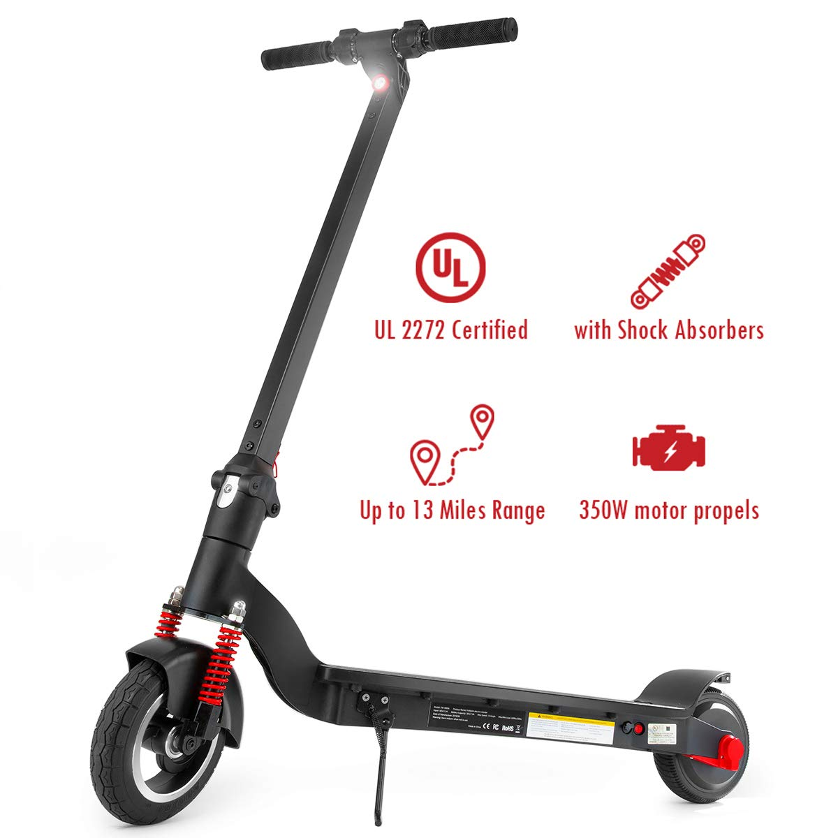 ROCKETX 8'' Electric Scooter with Shock Absorbers, Up to 13 Miles Range, Commuting Scooter by ROCKETX