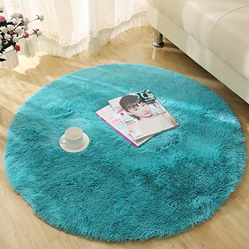 YJ.GWL Ultra Soft Round Blue Area Rugs for Bedroom Kids Room Fluffy Baby Nursery Carpet Mat Home Decor 4 Feet