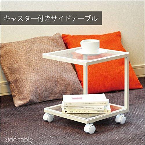 おしゃれ アクリル 天板 製 キャスター 付き サイド テーブル 幅32 奥行31 高さ35 cm アイボリー 日本製 B011HXFI82  アイボリー