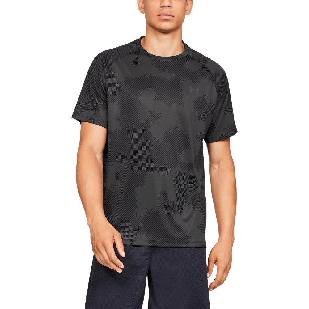 Under Armour Tech Short sleeve Printed 2.0, Black//Jet Gray, Small by Under Armour