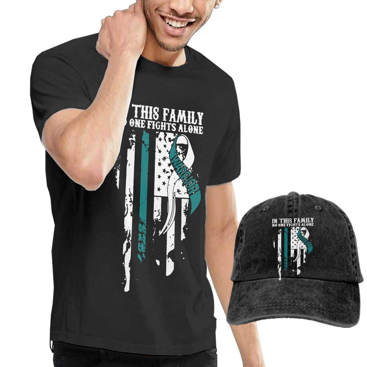 WWTBBJ-B Cervical Cancer Awareness Adult Mens Sportstyle T Shirt and Sport Jean Headgear