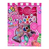 Sweet Glitz Kids Pretend Play Makeup Vanity Station W/ Mirror- Designer Girls Makeup Palette for Kids - Packed In a Cute Candy Shaped Vanity w/ Picture Frame- Non-Toxic and Washable