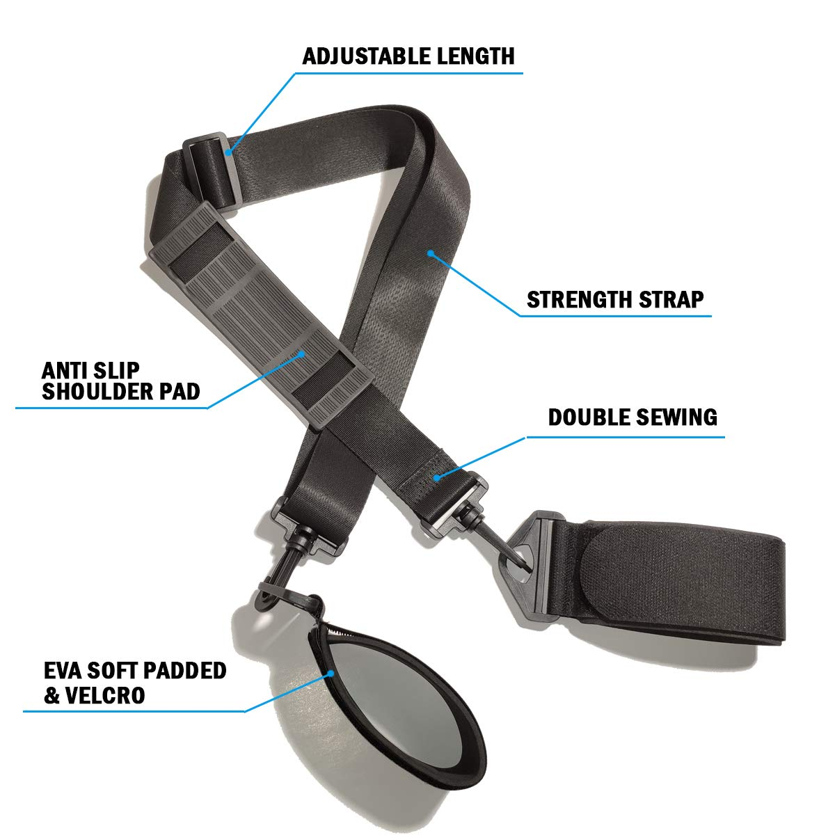 LAWOHO Shoulder Ski Carrier Straps Adjustable Sling with Cushioned Holder Upgrade with Anti Slip Shoulder Pad Lash Handle Straps Pole Carrier Snowboard Boot Carrier Strap