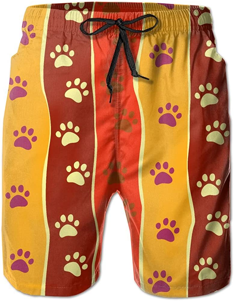 LUASD Mens Bright Cats Or Dogs Paw Quick Drying Breathable Beach Pants Swim Trunks
