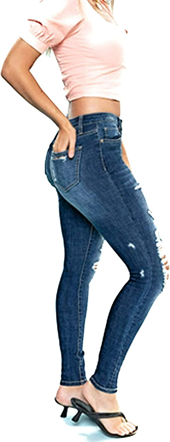 YMI Women Destroyed Mid-Rise Denim Skinny Jeans Distressed Dark Blue Pants