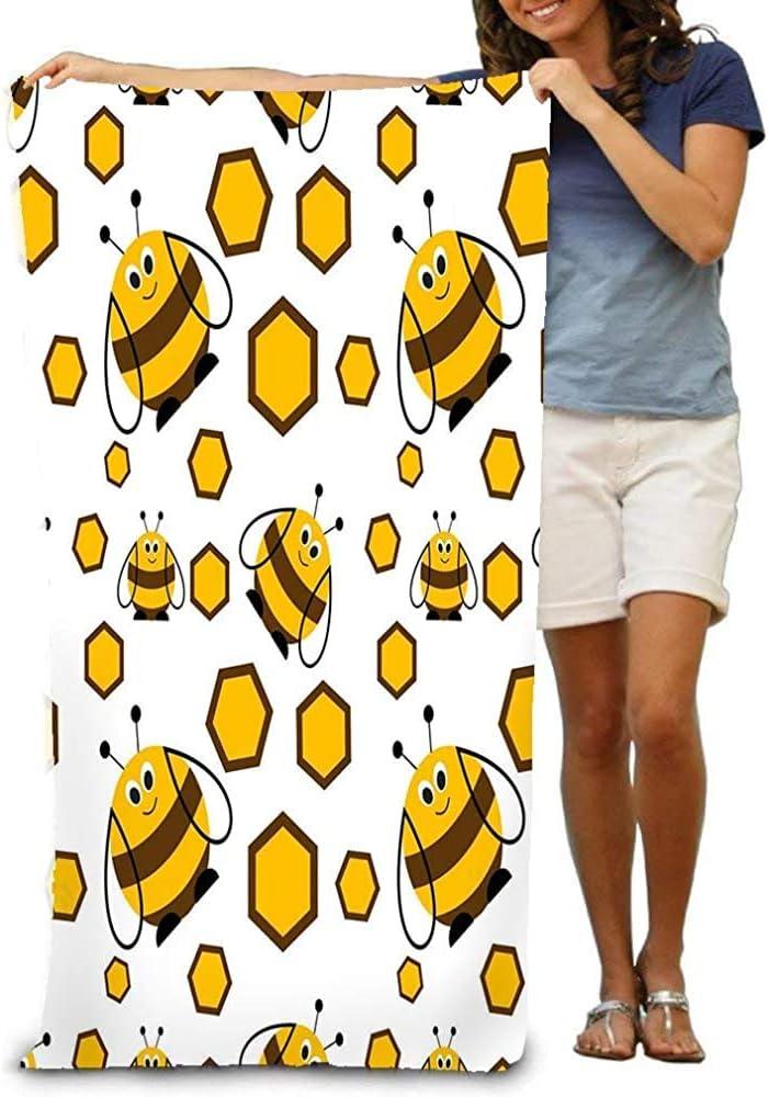 chillChur-DD Bath Towel Asciugamano da spiaggia Morbido Grande Modello Senza cuciture Insetti Sfondo Simpatici api comiche Favi Sfondo Bianco Serie animali