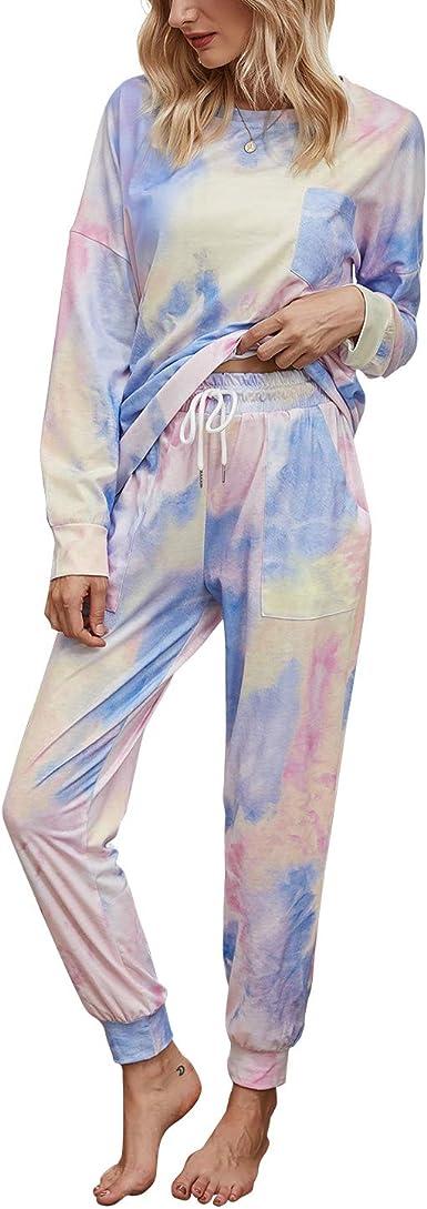 Asvivid Womens Tie Dye Printed Casual Pants Drawstring Elastic High Waist Lounge Pajama Trousers