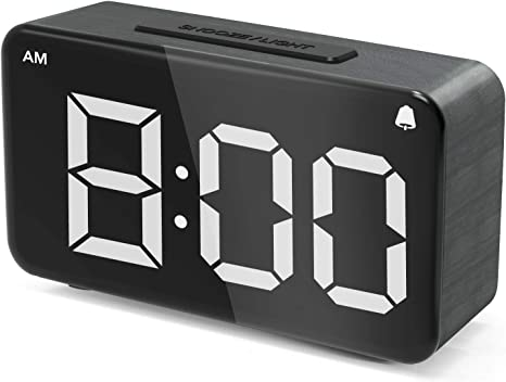 Alarm Clock Digital Alarm Clocks For Bedrooms Led Small Desk Clock With Adjustable Brightness Dimmer 12 24hr Snooze Easy Use Electric Beside Clock With Adapter Wood Grain Clock For Kids And Adults Kitchen Dining