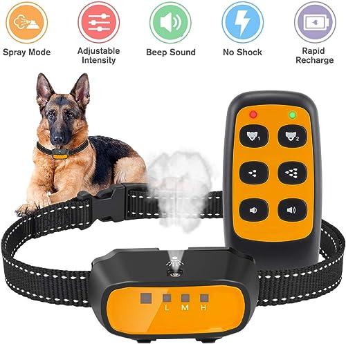 Queenmew Dog Bark Collar, Citronella Spray Anti Barking Device Rechargeable Waterproof Stop Bark Training Collars