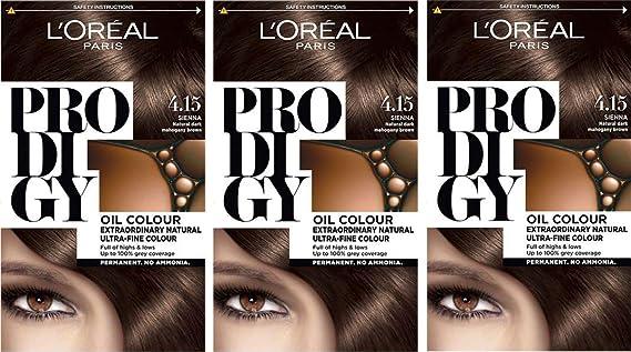 LOréal Paris Prodigy 4.15 Sienna tinte natural de caoba oscuro, marrón, paquete de 3