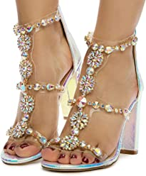 0a3c977b4f93 Liliana Women's Women's Classy Ankle Strap Clear Rhinestones Style High Heels  Open Toe Stiletto Sexy Heeled