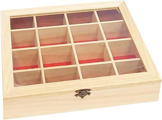 Acan Caja de Madera con 16 Compartimentos y Fondo Granate: Amazon ...