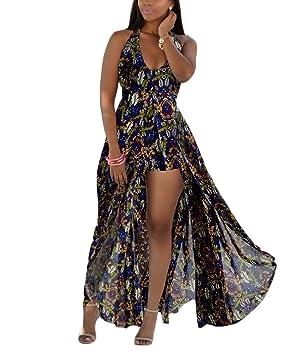 Yonglan Mujer Verano Casual Bohemio Estampados Elegantes Sin mangas V Cuello Vestidos Largos Vestidos Playa As