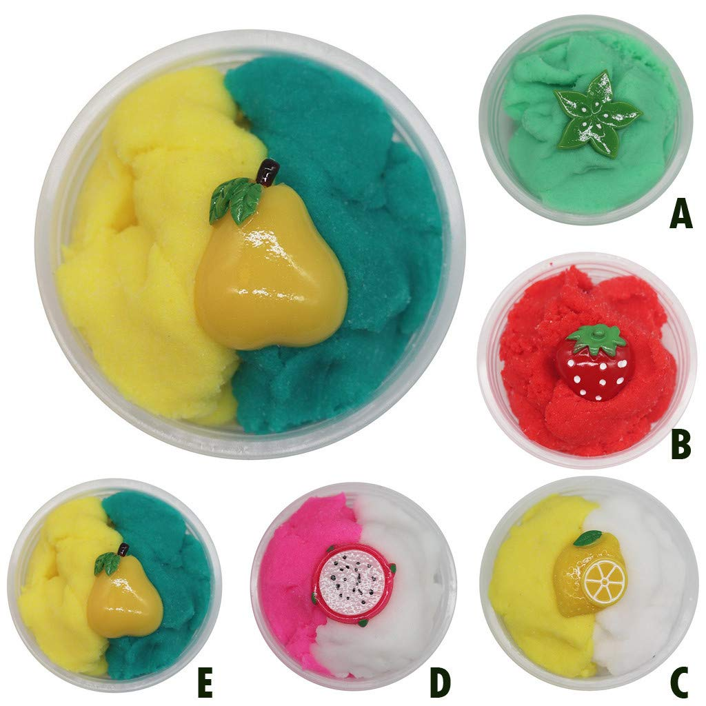 C Routinfly Stress Relief Toy Scented Color Fruits Cloud Puff Fluffy Clay for Any Child and Adults Slime Fluff Mud Toy