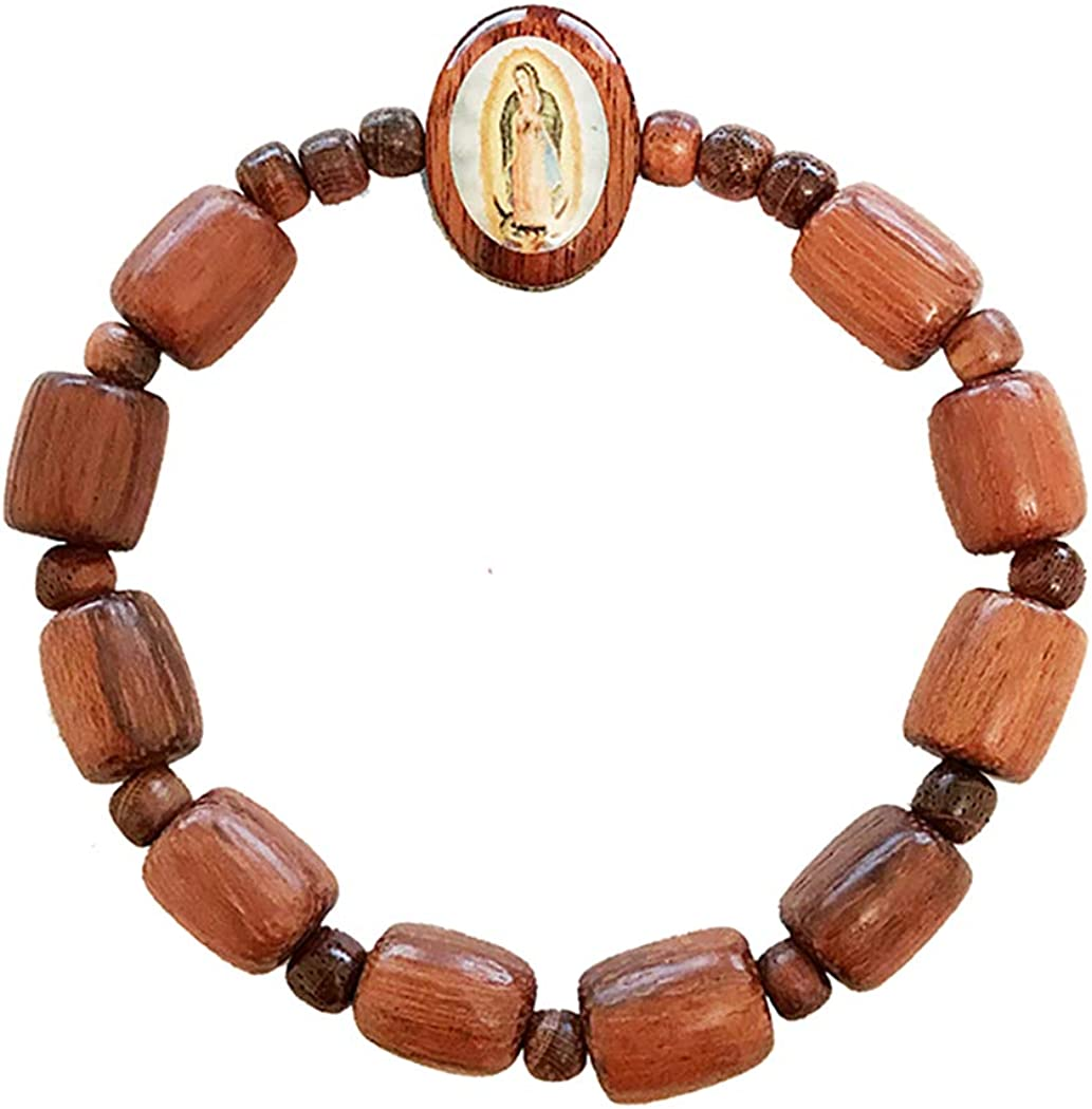 Brown Wooden Bead Guadalupe Charm Bracelet Hispanic Jewelry