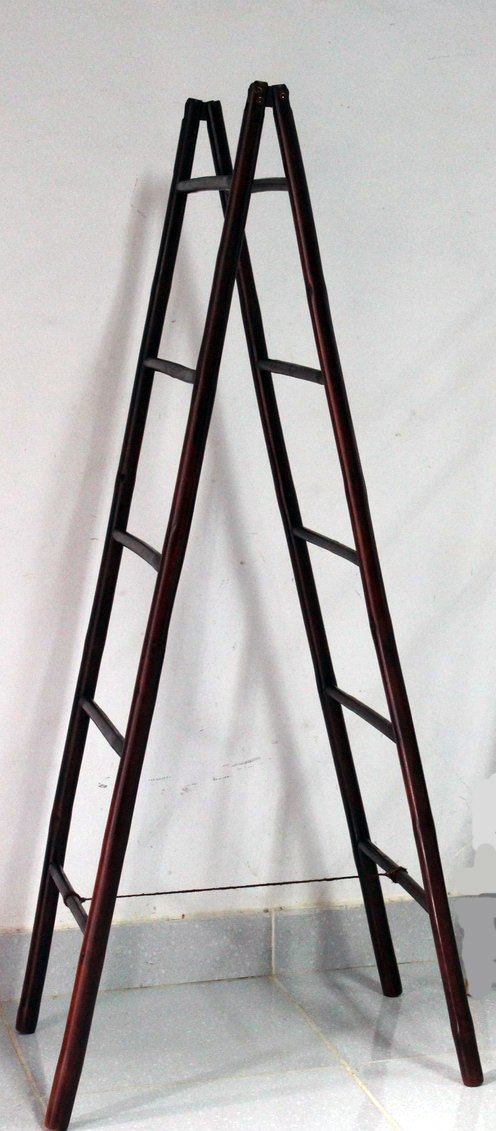Master Garden Products BLD-60R 5' Folding Double Bamboo Ladder Rack, Mahogany Stain