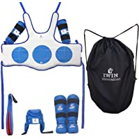 IWIN Blue Player Taekwondo Kit Approved Karate Safety All Gears Set PU II Chest & Head Guard II Shin Guard with Foot Protection II Arm Guard II Fan Pad Double Thick with Kit Bag
