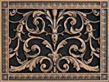 "Decorative Vent Cover, Grille, made of Urethane Resin in Louis XIV, French style fits over a 10"" x 14"", Total size, 12"" by 16"", for wall & ceiling installation only. (not for floors) (Rubbed Bronze)"