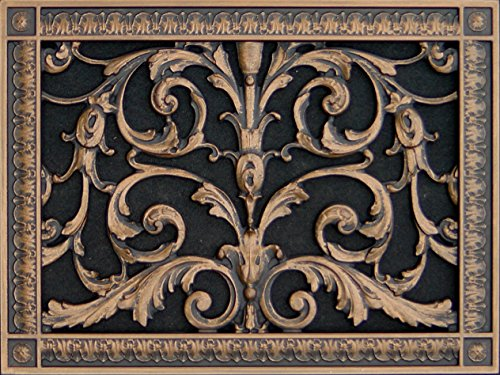 "Decorative Vent Cover, Grille, made of Urethane Resin in Louis XIV, French style fits over a 10"" x 14"", Total size, 12"" by 16"", for wall & ceiling installation only. (not for floors) (Rubbed - Wall Vent Bronze Flat"