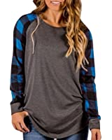 Paymenow Women Blouse, New Lattice Long Sleeve Splice Sweatshirt Pullover Tops Shirt