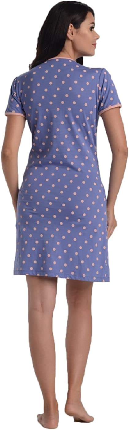 Di Vadini Umstandsnachthemd//Still-Nachthemd Paola aus 100/% Baumwolle//Kurzarm