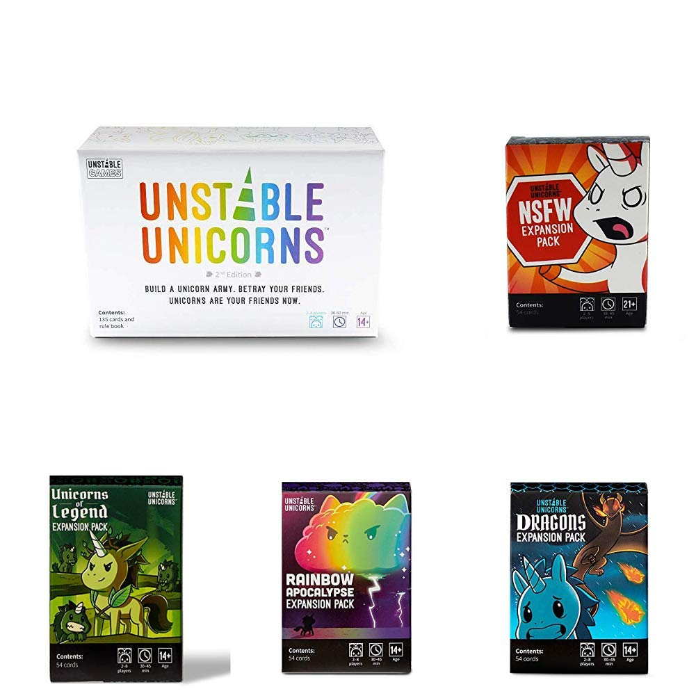 Unstable Unicorns Card Games Bundle with All Expansion Packs (5 Items)