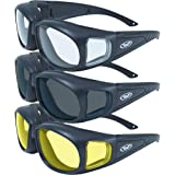 Three (3) Pairs Motorcycle Safety Sunglasses Fits Over Glasses Smoke, Clear, and Yellow Day & Night & Gun Range! Usage…