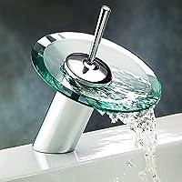 torneira de banheiro redondo vidro efluente de cascata mangueira fria e quente (H:15cm)