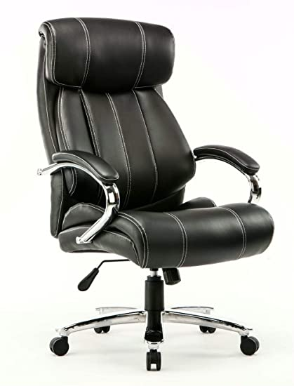 Fabulous Kerland Ergonomic Leather Executive Office Chair Big And Tall 400Lb Thick Padded Adjustable Home Office Computer Desk Chair With Arms And Headrest Theyellowbook Wood Chair Design Ideas Theyellowbookinfo