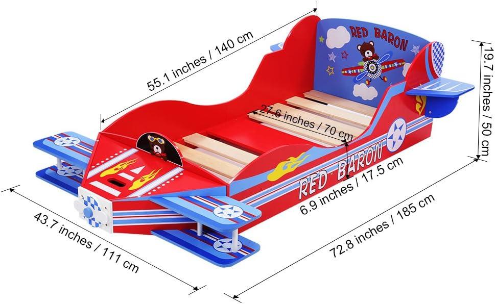 LANGRIA Cama Temática Infantil Avioneta Modelo Barón Rojo con Hélice, Arcón para Juegues Pequeños y Láminas de Somier Incluidas, Capacidad Máxima 50kg ...
