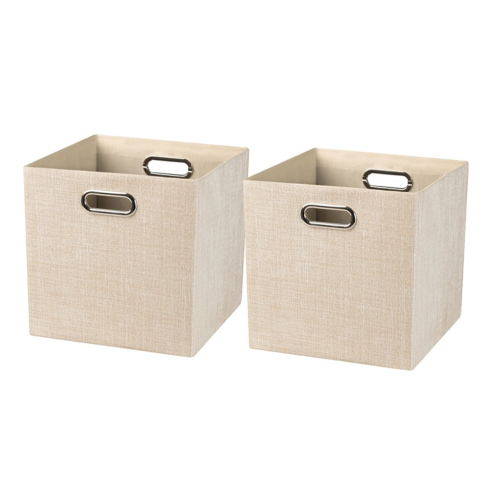 Posprica Collapsible Storage Bin Cube Baskets Shelf Cabinet Bookcase,Thick Cloth Shimmer,11''×11'', 2pcs, Beige Nicemoon