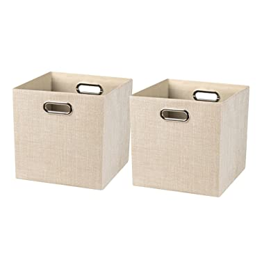 Posprica Collapsible Storage Bin Cube Baskets for Shelf Cabinet Bookcase,Thick Cloth with Shimmer,11''×11'', 2pcs, Beige
