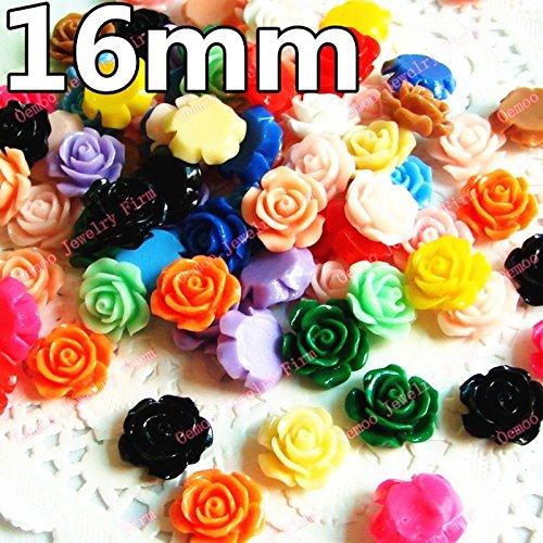 HOO PRODUCTS - Mixed Color 15mm 100pcs/lot Flat Back ResinsCabochon Scrapbook, 3D Resin Rose Flower Fit Phone Embellishment DIY Hot (Rose Resin)