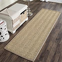 "Safavieh Natural Fiber Collection NF115P Herringbone Natural and Grey Seagrass Area Rug (2'6"" x 4')"