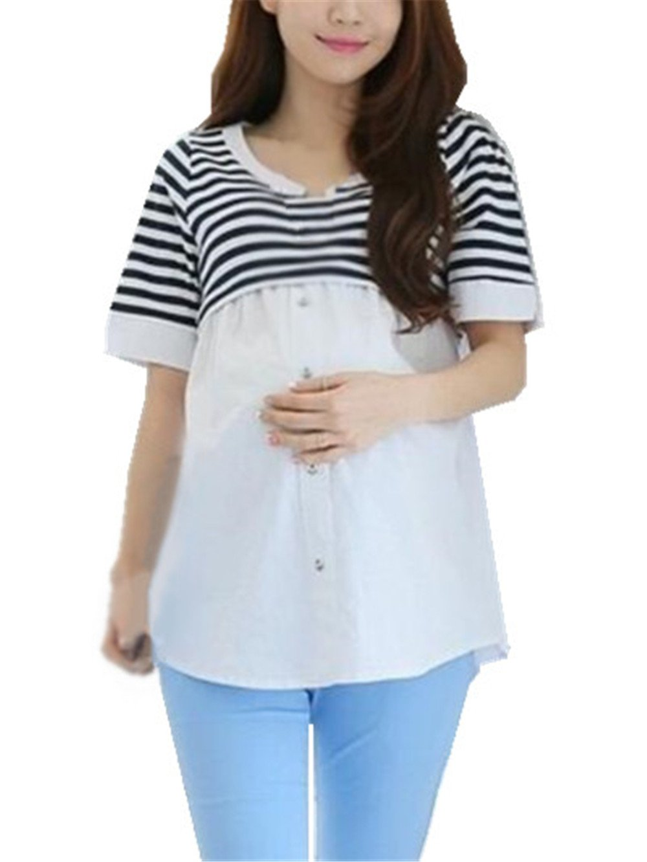 BESTHOO Premaman Top L'Allattamento Donna Top Manica Mezza Maglietta Patchwork Strisce T-shirt Elegante Comoda Bluse Moda Casual Camicie