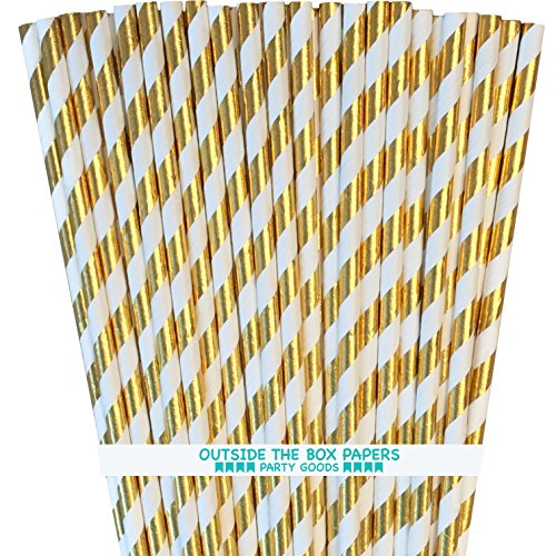 Gold Foil Paper Straws - Striped - 7.75 Inches - 100 Pack - Outside the Box Papers Brand