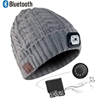 HEYMIX Bluetooth Unisex 4 LED Knitted Flashlight Beanie Hat/Cap,Built-in Stereo Speakers Lighted Knit Cap for Hunting, Camping, Grilling, Auto Repair, Jogging, Walking, Running(Grey)