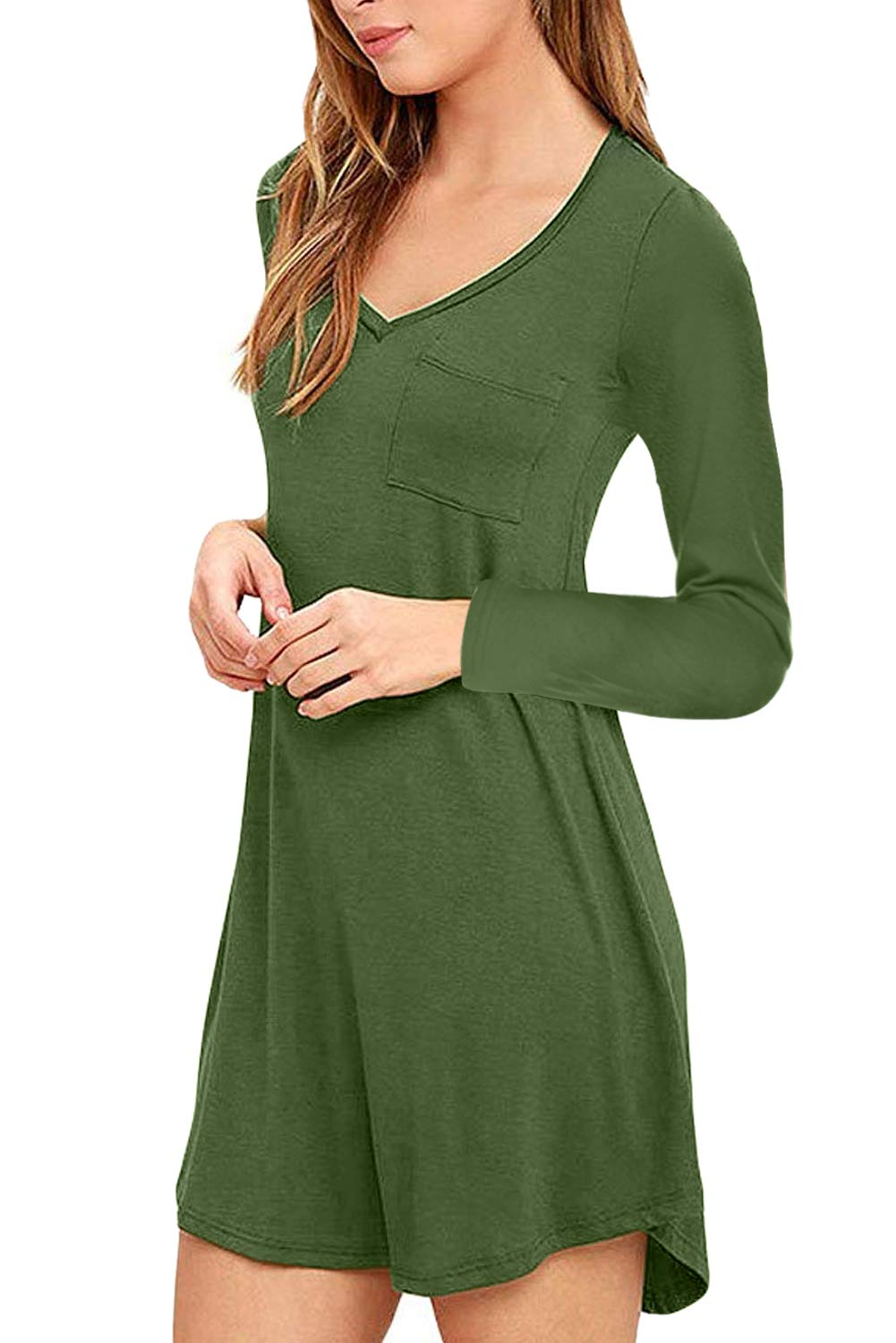 Eanklosco Womens Casual Long Sleeve Plain V Neck T Shirt Tunics Loose Dress (Green, L)